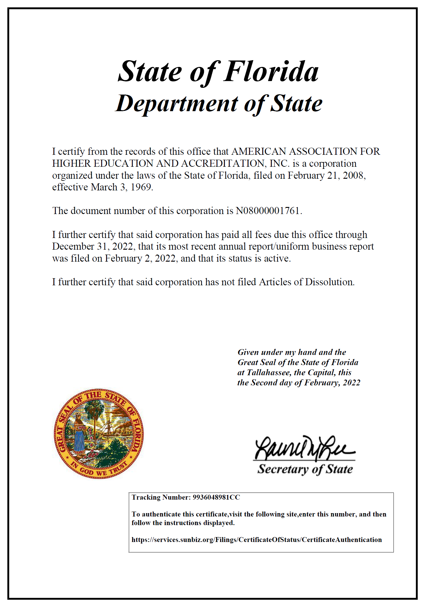 AAHEA Corporation Certification from Department of State of Florida